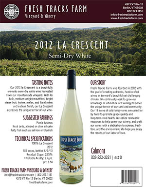 Fresh Tracks Farm Wine: 2014 La Crescent