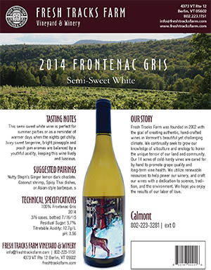Fresh Tracks Farm Wine: 2015 Frontenac Gris