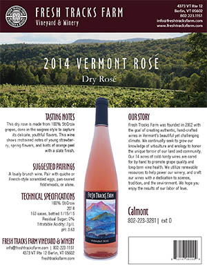 Fresh Tracks Farm Wine: 2016 Vermont Rosé