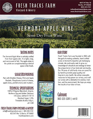 Fresh Tracks Farm Wine: Vermont Apple Wine