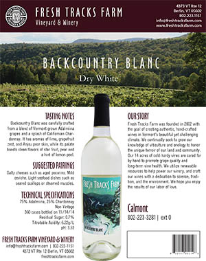 Fresh Tracks Farm Wine: Backcountry Blanc