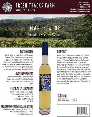 Fresh Tracks Farm Wine: Maple Wine